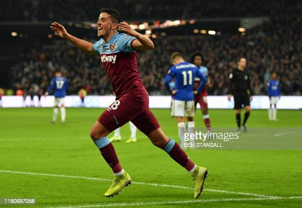 West Ham United's Spanish midfielder Pablo Fornals celebrates scoring their first goal to equalise 11 during the English Premier League football...