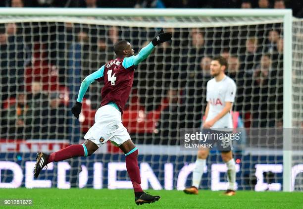 West Ham United's Spanish midfielder Pedro Obiang celebrates scoring the opening goal during the English Premier League football match between...