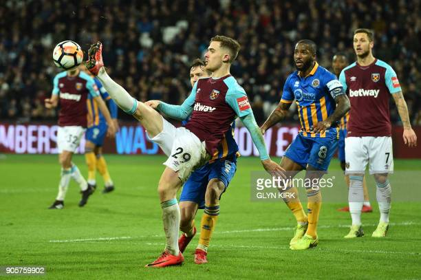West Ham United's Spanish striker Antonio Martinez kicks the ball during the FA Cup third round replay football match between West Ham United and...