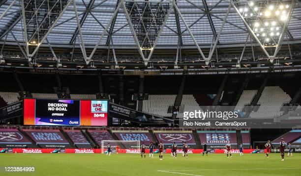 West Ham United's Tomas Soucek first half goal is ruled out by VAR during the Premier League match between West Ham United and Chelsea FC at London...