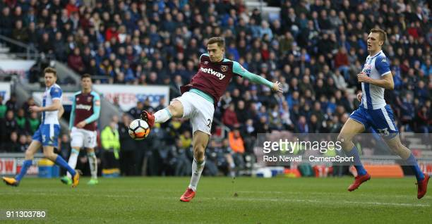 West Ham United's Toni Martinez during the The Emirates FA Cup Fourth Round match between Wigan Athletic and West Ham United at DW Stadium on January...
