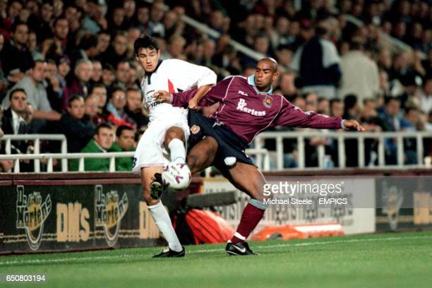 West Ham United's Trevor Sinclair battles with NK Osijek's Jurica Vranjes