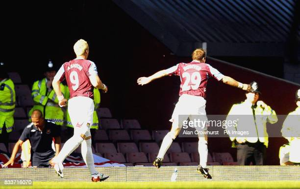 West Ham's Lee Bowyer celebrates his goal during the Barclays Premier League match at Upton Park London