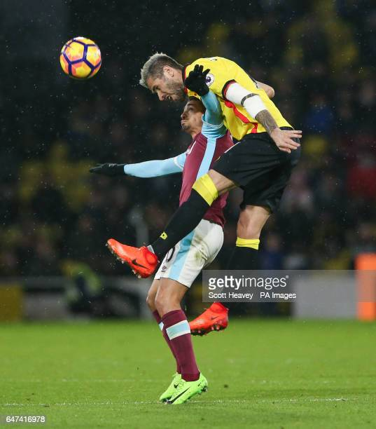 West Ham's Manuel Lanzini and Watford's Valon Behrami during the Premier League match at Vicarage Road Watford