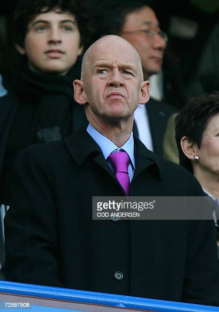 West Ham's new chairman Icelandic business tycoon Eggert Magnusson watches his team play against Chelsea during their Premiership match at Stamford...