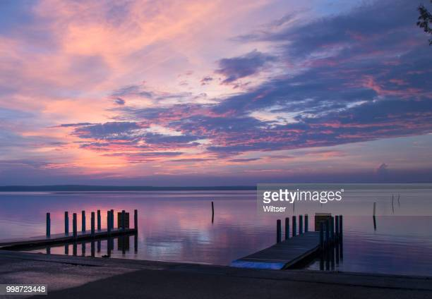 DNR West Higgins Lake Boat Launch Reflecting Sunrise