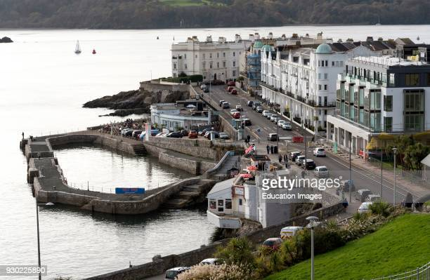 West Hoe Plymouth Devon England UK November 2017 An overview of the west Hoe pier housing and commercial premises on the waterfront
