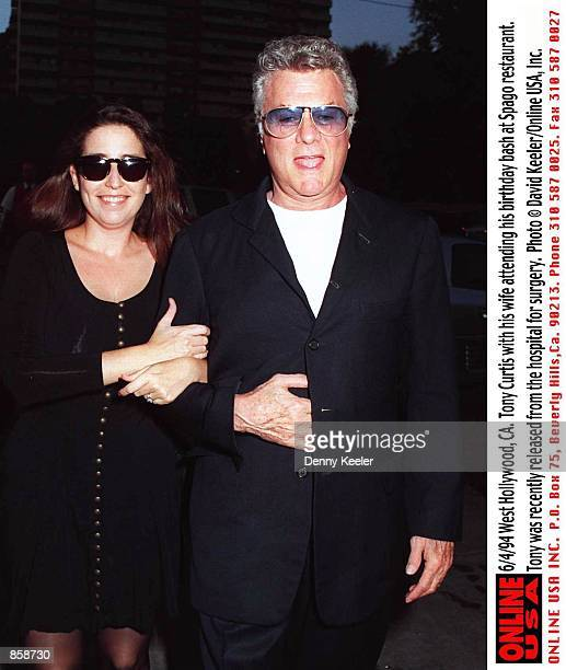 West Hollywood, CA. Tony Curtis with his wife, Lisa Deutsch arrive at Spago restaurant to celebrate his birthday. Tony was recently released from the...