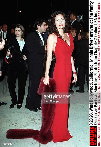 West Hollywood, California. Minnie Driver arrive at the Vanity Fair Oscar Party at Mortons