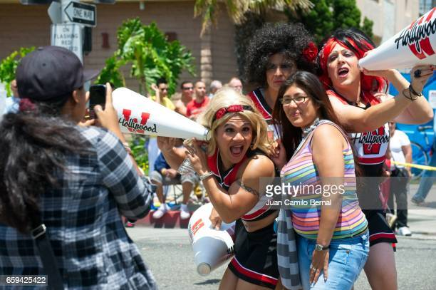 west hollywood cheerleaders at the 2012 long beach lesbian & gay pride - united_states_house_of_representatives_elections_in_florida,_2012 stock pictures, royalty-free photos & images