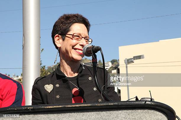 West Hollywood Mayor Pro Tempore Abbe Land attends the kick-off for One Billion Rising in West Hollywood on February 14, 2013 in West Hollywood,...