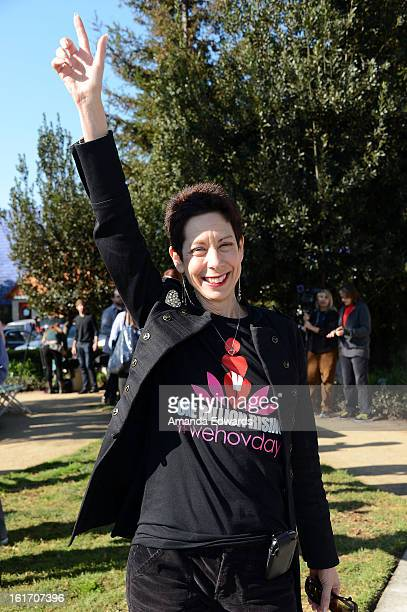 West Hollywood Mayor Pro Tempore Abbe Land helps kickoff One Billion Rising on February 14 2013 in West Hollywood California