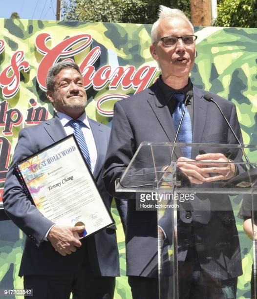West Hollywood Mayor Pro Tempore John J Duran and West Hollywood Mayor John Heilman speaks onstage at Cheech Marin and Tommy Chong Key to The City of...