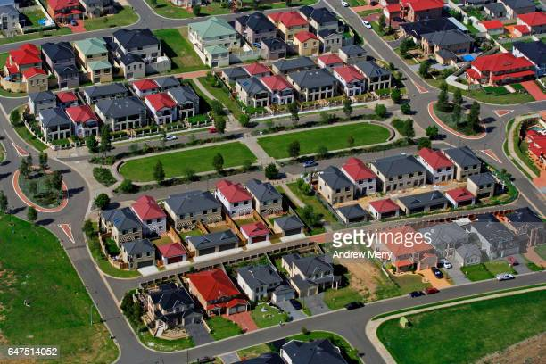 west hoxton, western sydney, aerial photography - urban sprawl stock pictures, royalty-free photos & images