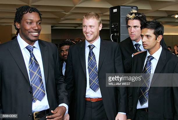West Indian batsman Chris Gayle , who is playing for the International Cricket Council World XI cricket team, poses for the cameras to the amusement...