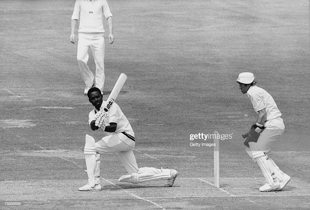 West Indian batsman Collis King in action during the Cricket World Cup Final (aka Prudential Cup) against England at Lord's, London, 23rd June 1979. England wicket keeper BobTaylor looks on.