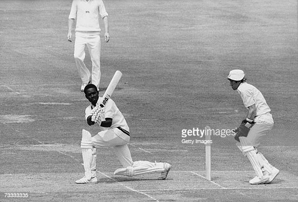 West Indian batsman Collis King in action during the Cricket World Cup Final against England at Lord's London 23rd June 1979 England wicket keeper...