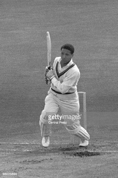 West Indian cricketer Garfield Sobers batting at the Oval in London, during a test match against England, 1957.