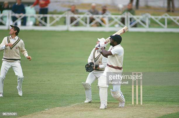 West Indian cricketer Viv Richards during his 48 ball century at Taunton, May 1986. He is playing for Somerset against Glamorgan.