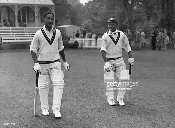 West Indian cricketers Frank Worrell and Everton Weekes heading out to bat against Cambridge University Original Publication Picture Post 5056 Fair...