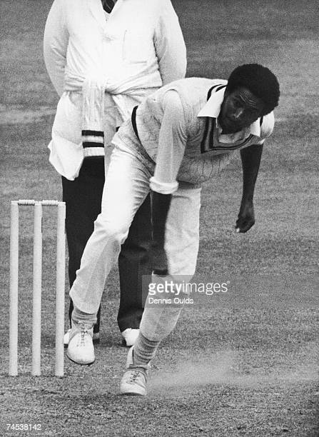 West Indian fast bowler Andy Roberts in action for Hampshire CCC 2nd June 1975