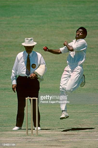 West Indian fast bowler Andy Roberts pictured in action during the 2nd Test Australia v West Indies in Perth Australia in December 1975