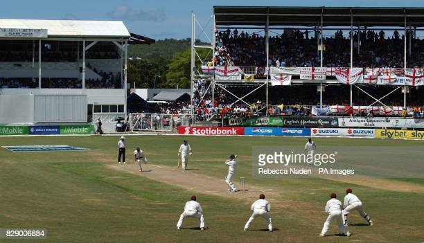 West Indian field after their captain Brian Lara scored 400 runs not out and declared on 751 against England during the third day of the 4th Test at...