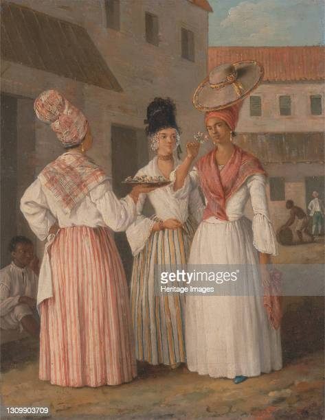 West Indian Flower Girl and Two other Free Women of Color, ca. 1769. Artist Agostino Brunias. .
