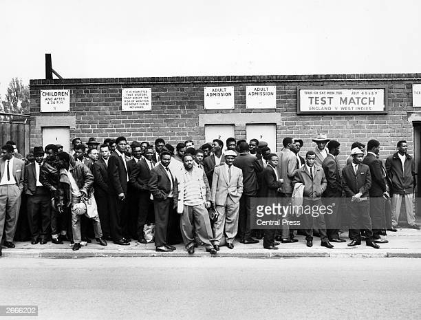 West Indian supporters outside Edgbaston cricket ground in Birmingham before the third test match versus England