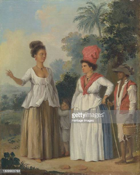 West Indian Women of Color, with a Child and Black Servant;Two West Indian Women of Color, a Child Holding the Hand of One and attendant Black...