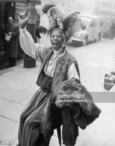 West Indianborn horse racing tipster Ras Prince Monolulu outside St George's Hospital London after treatment 16th February 1956