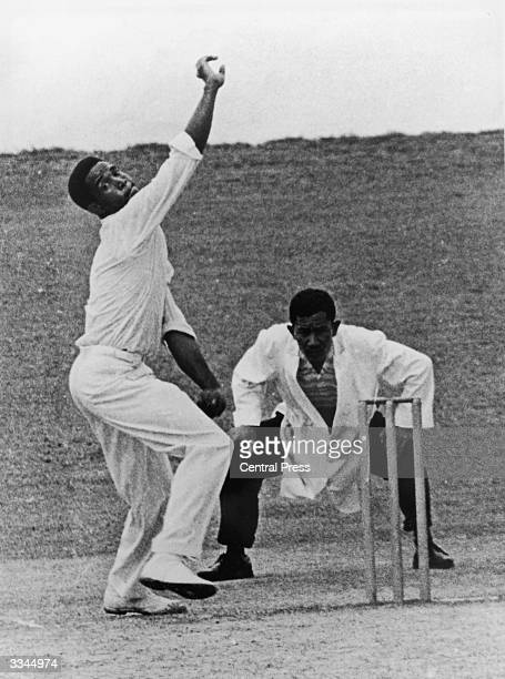 West Indies all round cricketer Garfield Sobers bowling, April 1963.