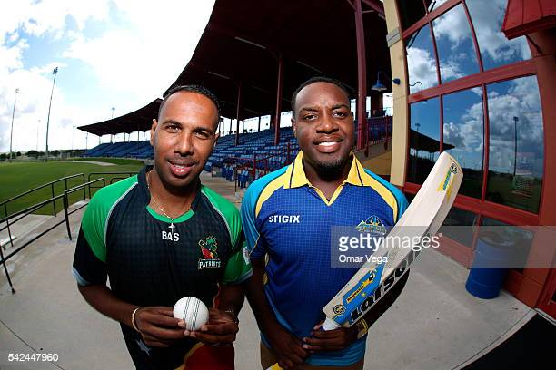 West Indies and St Kitts & Nevis Patriots Samuel Badree and Steven Taylor of Barbados Tridents pose after a press conference for the official USA...