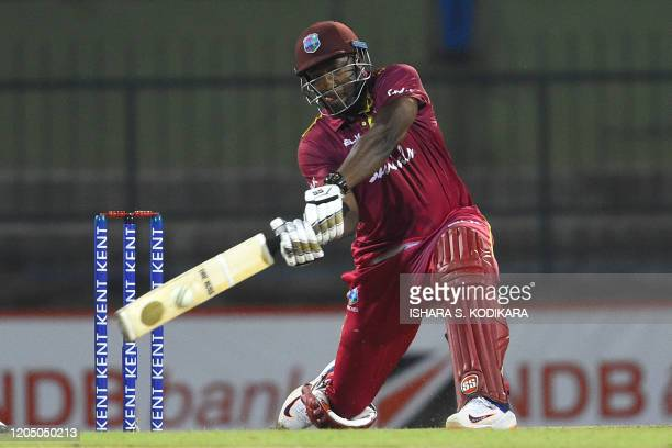 West Indies' Andre Russell plays a shot during the first Twenty20 international cricket match of a twomatch series between Sri Lanka and West Indies...