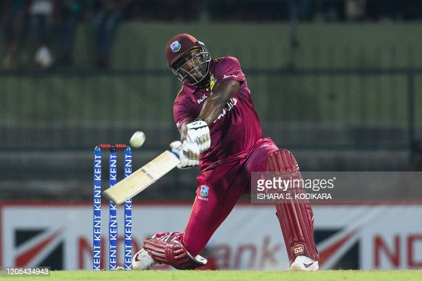West Indies' Andre Russell plays a shot during the second Twenty20 international cricket match of a twomatch series between Sri Lanka and West Indies...