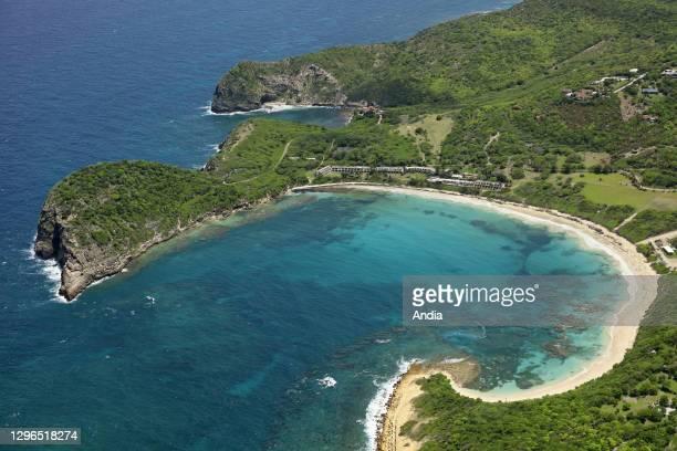 West Indies, Antigua and Barbuda: aerial view of Half Moon Bay on Antigua Island.