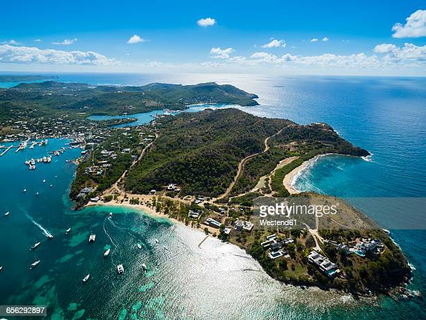 West Indies, Antigua and Barbuda, Antigua, aerial view, English Harbour and Windward Bay