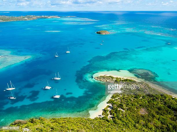 West Indies, Antigua and Barbuda, Antigua, aerial view, Green Island, Green Bay