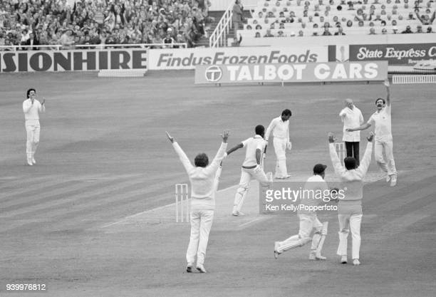 West Indies batsman Collis King is caught behind by England wicketkeeper David Bairstow off the bowling of Graham Gooch during the 5th Test match...