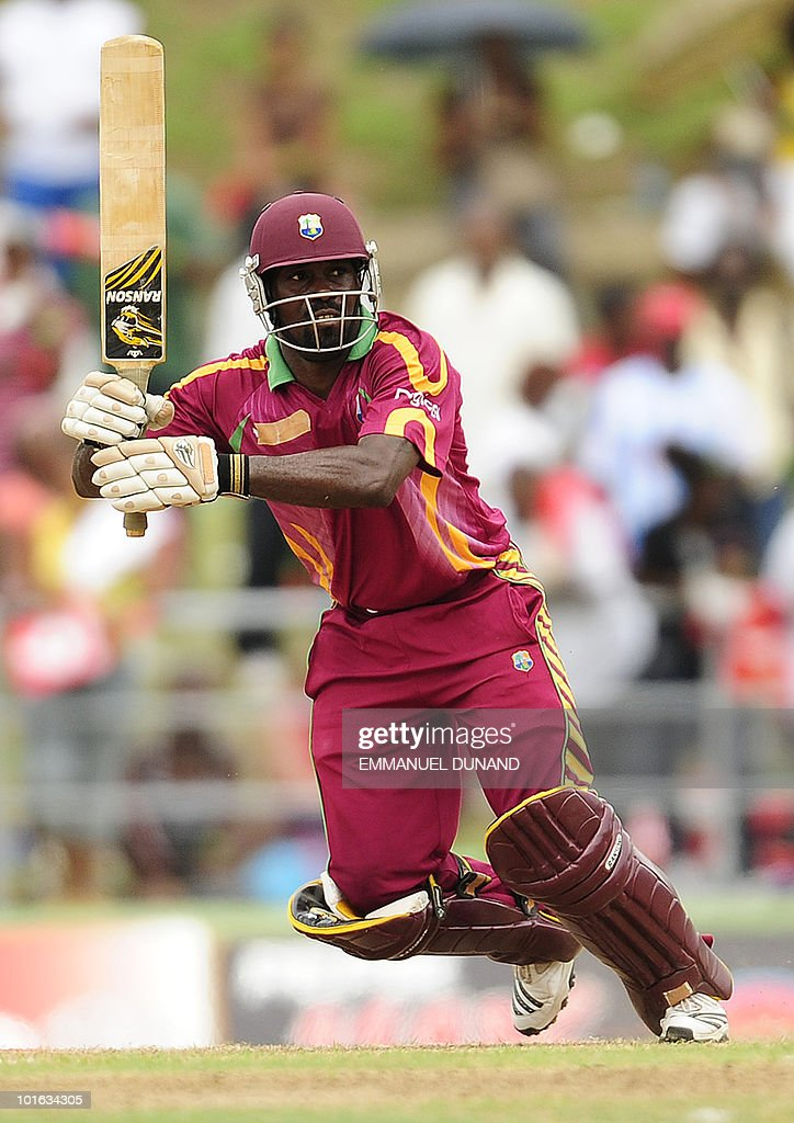 West Indies batsman Dale Richards play a shot during the third ODI between the West Indies and South Africa May 28, 2010 at Windsor Park in Roseau, Dominica. South Africa won by 67 runs to win the five match series with a lead of 3-0 and two matches to go. AFP PHOTO/Emmanuel Dunand