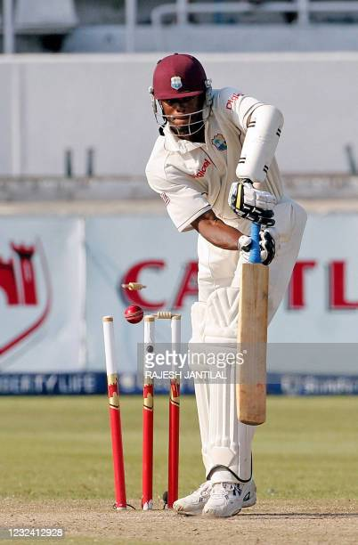West Indies batsman Darren Powell is cleaned bowled by South Africa's Dale Steyn 12 January 2008, on the third day of their final test match at the...