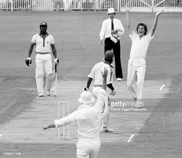 West Indies batsman Desmond Haynes is caught behind for 9 runs by England wicketkeeper David Bairstow off the bowling of Bob Willis during the 1st...