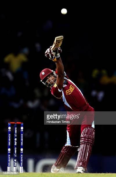 West Indies batsman Dwayne Bravo bats during the ICC T20 World Cup cricket semi final match between Australia and West Indies at R Premadasa Stadium...