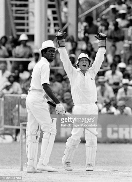 West Indies batsman Everton Mattis is caught for 0 by Geoff Miller of England off the bowling of John Emburey during the 1st Test match between West...