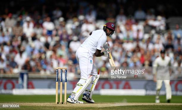 West Indies batsman Jason Holder hits out during day three of the 2nd Investec Test match between England and Wwest Indies at Headingley on August 27...