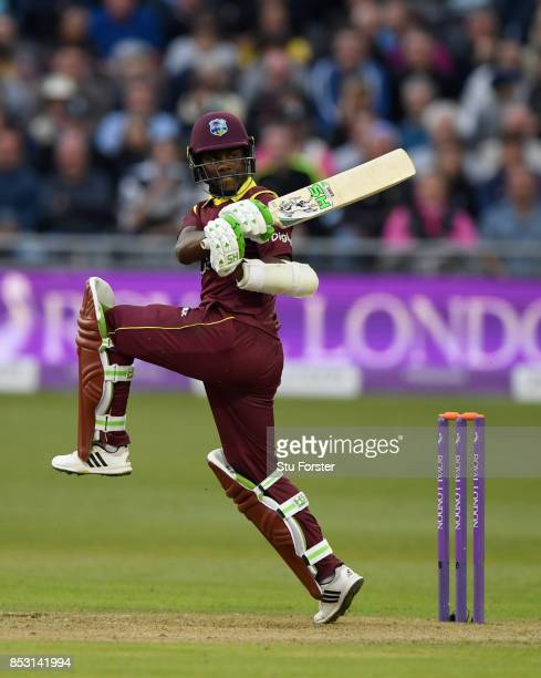 West Indies batsman Jason Mohammed bats during the 3rd Royal London One Day International between England and West Indies at The Brightside Ground on...
