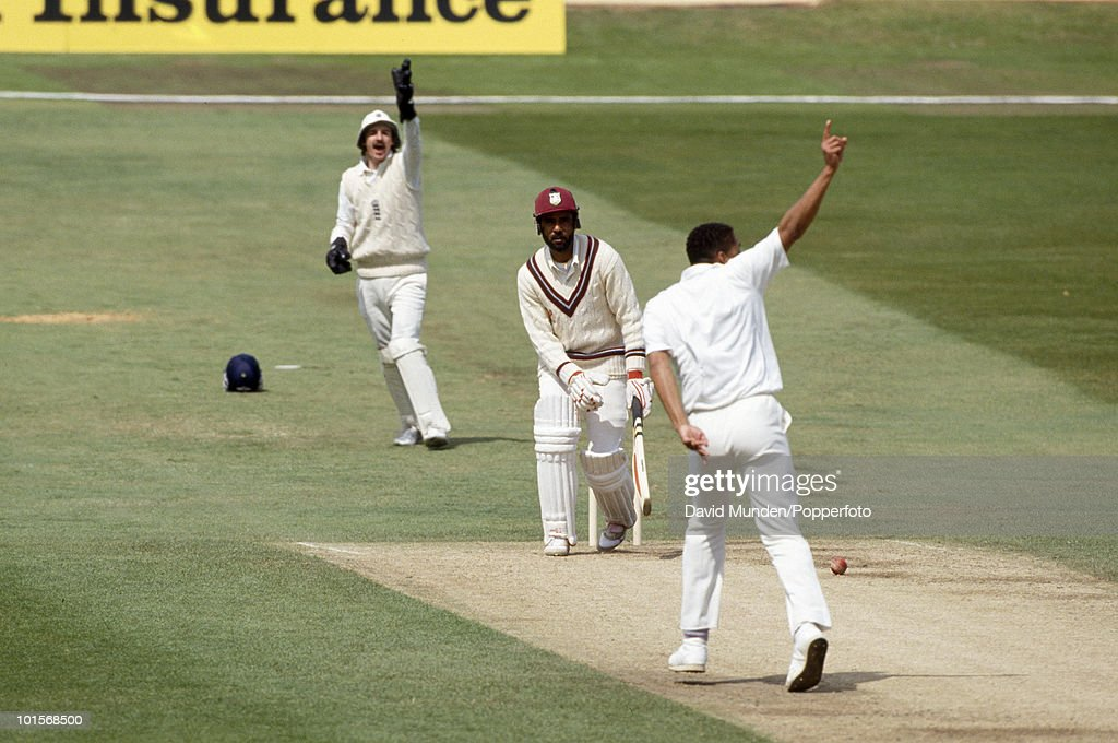 West Indies batsman Jeffrey Dujon is out LBW to Philip DeFreitas for 33 on the fifth day of the 1st Test Match between England and the West Indies at Headingley in Leeds, 10th June 1991. The England wicketkeeper is Jack Russell. England won by 115 runs.