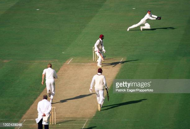 West Indies batsman Jimmy Adams is caught for 29 runs by England wicketkeeper Alec Stewart off the bowling of Peter Martin during the 3rd Texaco...