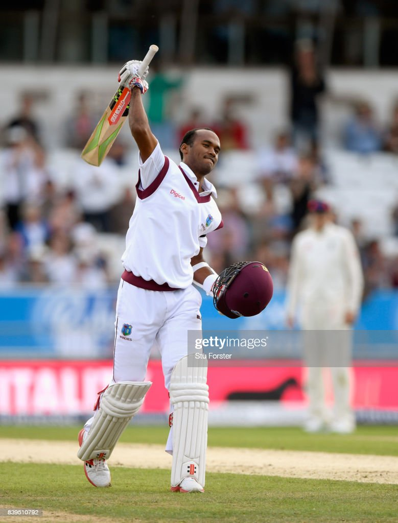 West Indies batsman Kraigg Brathwaite celebrates his century during day two of the 2nd Investec Test match between England and West Indies at Headingley on August 26, 2017 in Leeds, England.