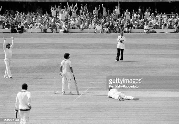 West Indies batsman Larry Gomes is caught at short leg for 10 runs by Mike Gatting of England during the 2nd Test match between England and West...